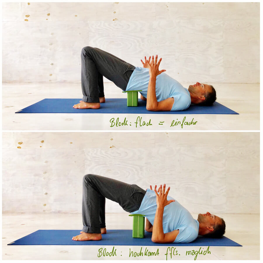 Yoga Stress - Yoga Exercise - with block as an aid