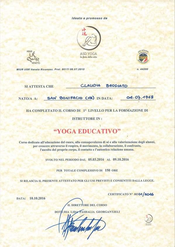 Claudia Beggiato, attestato ISTRUTTORE IN YOGA EDUCATIVO per BAMBINI riconosciuto MIUR CSEN/CONI