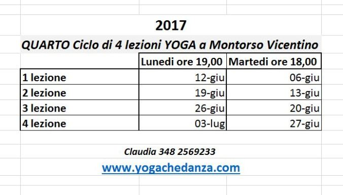 Montorso Yoga - CICLO DI 4 LEZIONI A GIUGNO 2017