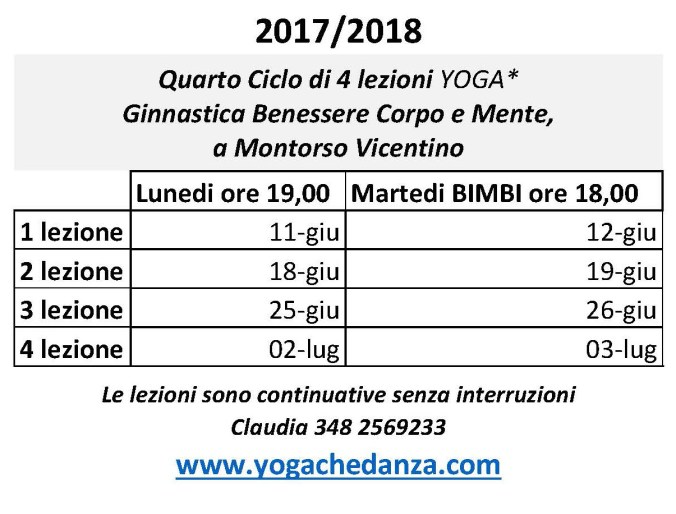 4° Ciclo corsi fino a Luglio 2018