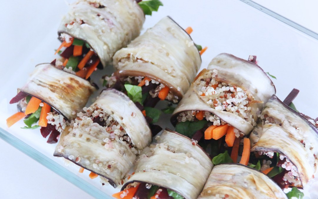 EGGPLANT ROLLS WITH QUINOA STUFFING
