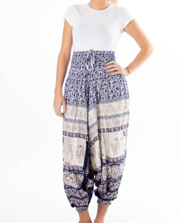 Hvit haremsbukse for yoga med blå elefantdetaljer