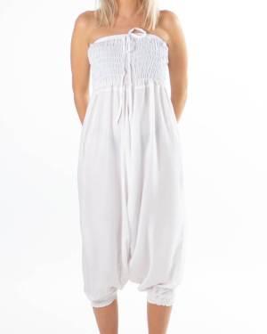 Hvit haremsbukse ensfarget