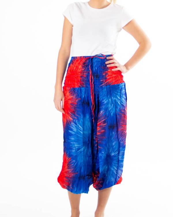 Blå haremsbukse med batikk