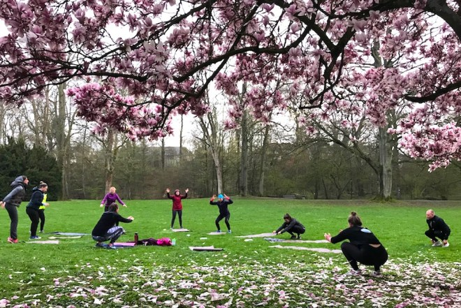 Outdoor Fitness Yoga unter der Magnolie