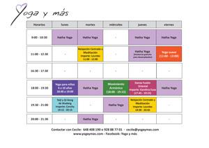 Haz clic para agrandar el horario de Yoga y Más