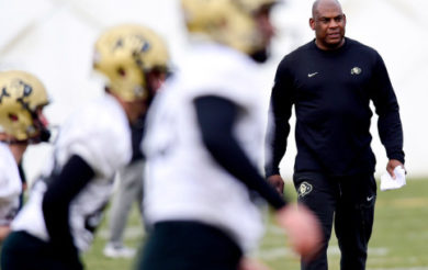 BOULDER, CO - MARCH 18:University of Colorado Head Football coach Mel Tucker during spring practice in Boulder on March 18, 2019. (Photo by Matthew Jonas/Staff Photographer)