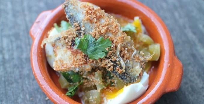 最高の前菜、卵+ピクルス+サーディーン