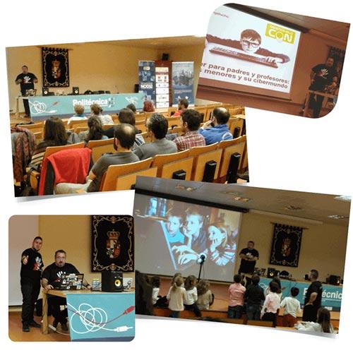 Collage con fotos de la charla los menores y su cibermundo.