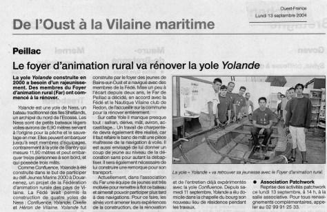 Le foyer d'animation rural va rénover la yole Yolande