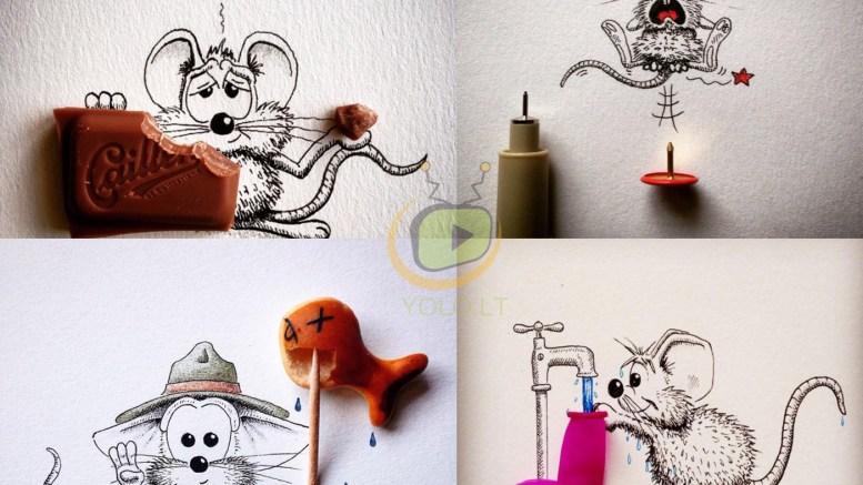 Piešiniai pieštuku virstantys šmaikščiomis kompozicijomis  3 main