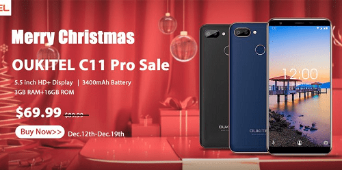 Get Oukitel C11 Pro 4G LTE 3GB RAM, Face ID for $69.99 (N25,000)