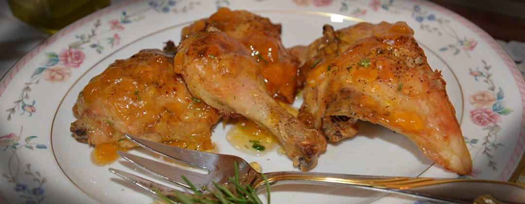 roasted chicken with peach and pepper jam