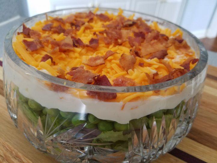 Layered Salad with Fresh English Peas