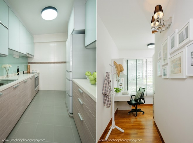 Kitchen(left), Study room (right) ID by Icon Interior Design by YongHao Photography