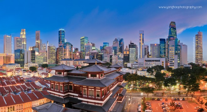 Singapore Panoramic Skyline of CBD and Chinatown temple, East meet West Aspect Ratio 1.85:1