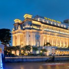 Singapore Iconic Fullerton Hotel Exterior with Anderson Bridge Aspect Ratio 16:9