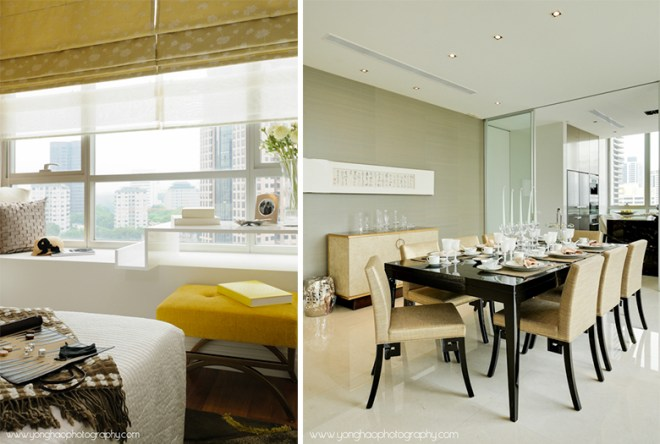 Left: Bedroom, Right: Dining Area - Interior photography by YongHao Photography