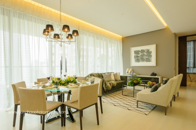 ardmore three, wheelock properties,  condo showflat, yonghao photography, living area, kitchen