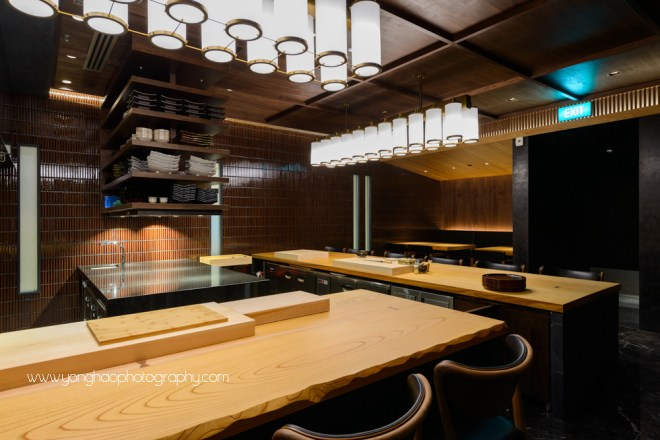 Takayama, OUE Downtown, japanese restaurant, fine dining, interior photography, Singapore, F&B, yonghao photography