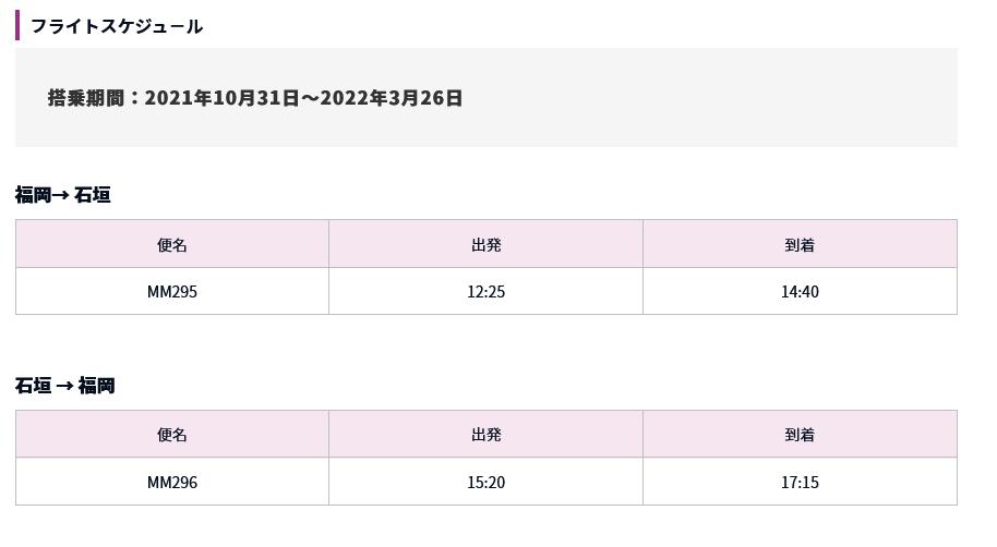 フライトスケジュール [新路線]福岡ー石垣 販売開始! Peach Aviation
