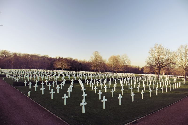 A military graveyard shows hundreds of white crosses, representing the hundreds of soldiers who've died.