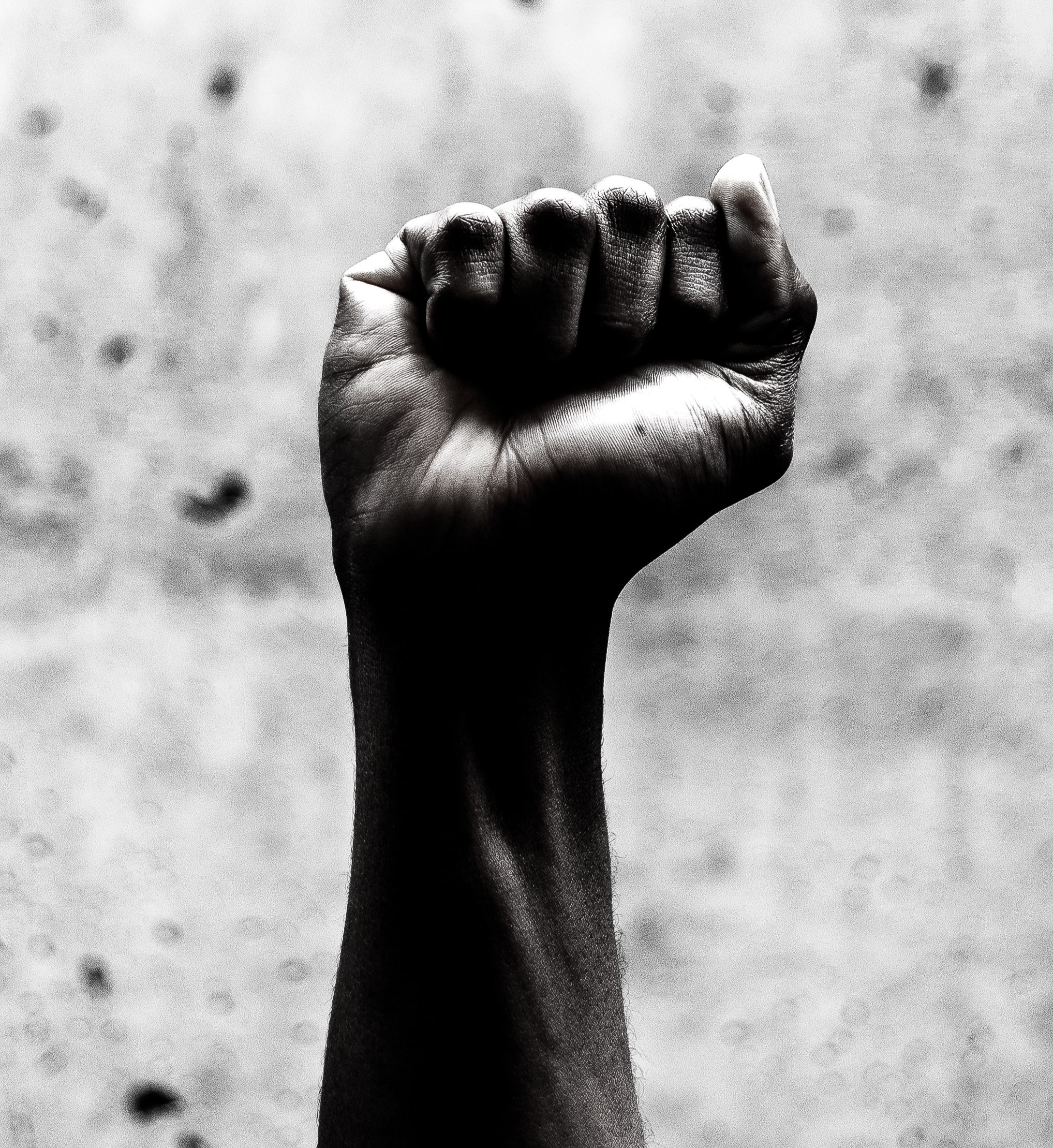 A dark-skinned person's fist is clenched and thrust into the air, in the manner of Black Power.