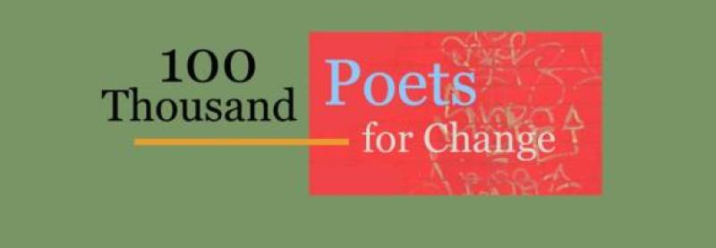"The banner for 100TPC: an olive green rectangle with the words ""100 Thousand Poets for Change"" superimposed over a red and gold print rectangle and a yellow line."
