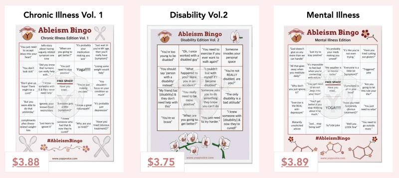 A preview of three of the Ableism Bingo Cards