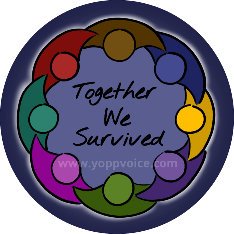 a geometric representation of a circle of people with joined arms, in a rainbow of colors, surrounding a mid-toned blue background and the words Together We Survived, in handwriting the center. The simple figures are outlined by hand-drawn pen strokes, and surrounding their circle is a faint glow of white light. The background of the design is dark blue.