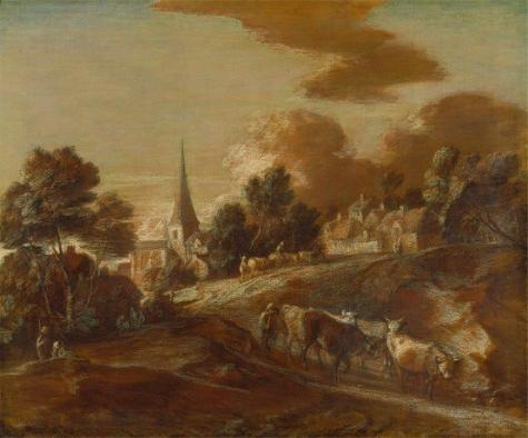 An Imaginary Wooded Village with Drovers and Cattle, Thomas Gainsborough  Yale Center for British Art, Paul Mellon Collection