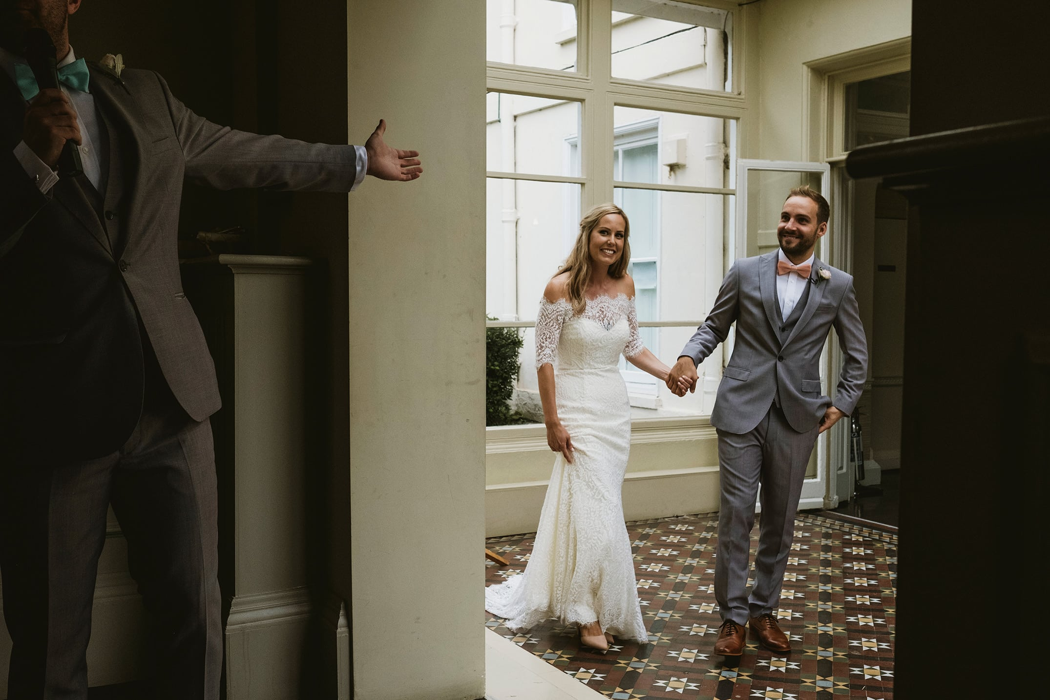 Morden Hall Wedding Photography London bride and groom being announced for dinner