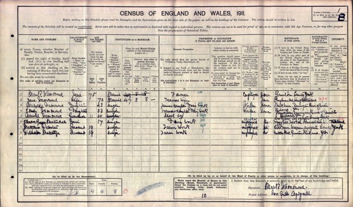1911 census for Thorns Gill farm, Aysgarth. With thanks to Penny Ellis