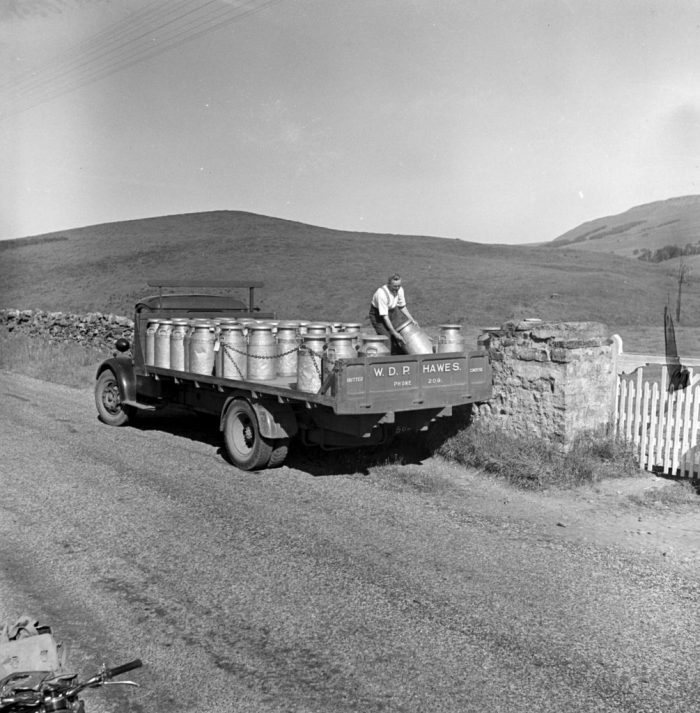 Herbert Mason collecting milk near Hawes. Photo by Bertrand Unne (c) North Yorkshire County Council 2019