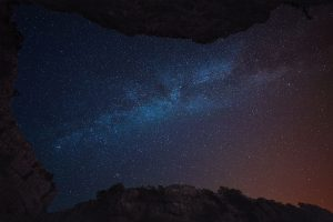Looking up through Gordale Scar at the stars