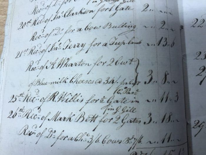 James Willis' Yorescott ledger for 1823 recording the sale of 2 cwt of blue milk cheeses. Collection of Dales Countryside Museum
