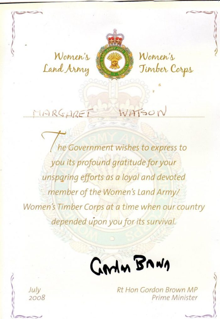 Land Army certificate of recognition 2008. Courtesy of Margaret Watson