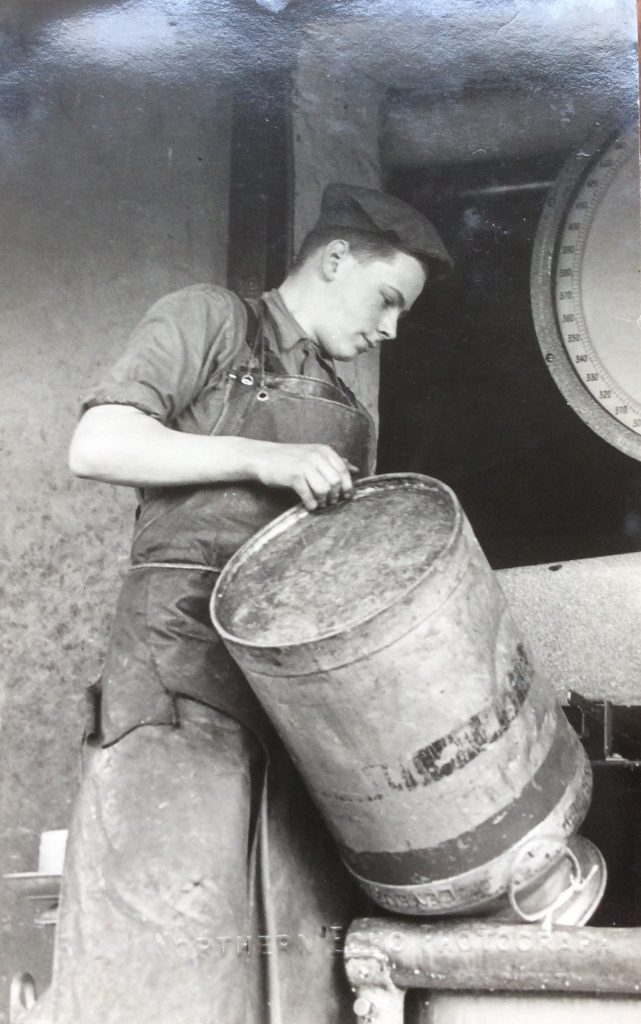 Leslie Walls working at Coverham Dairy in 1941. Courtesy of Valerie Slater