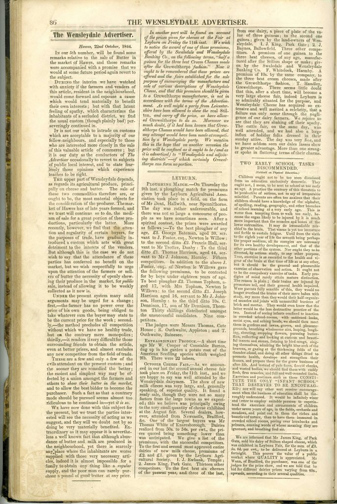 The Wensleydale Advertiser22nd October 1844 p86