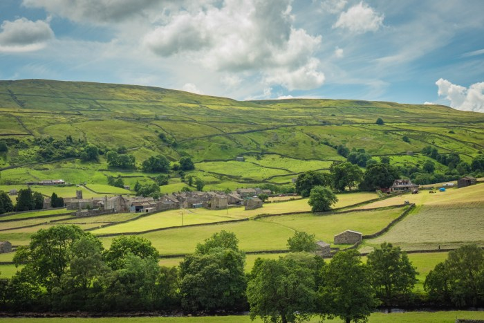 The village of Muker nestled in amongst green fields of the Dales