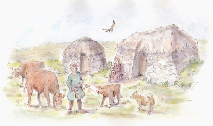 Green Side imagined as a Viking period sheiling site. Illustration by James Innerdale