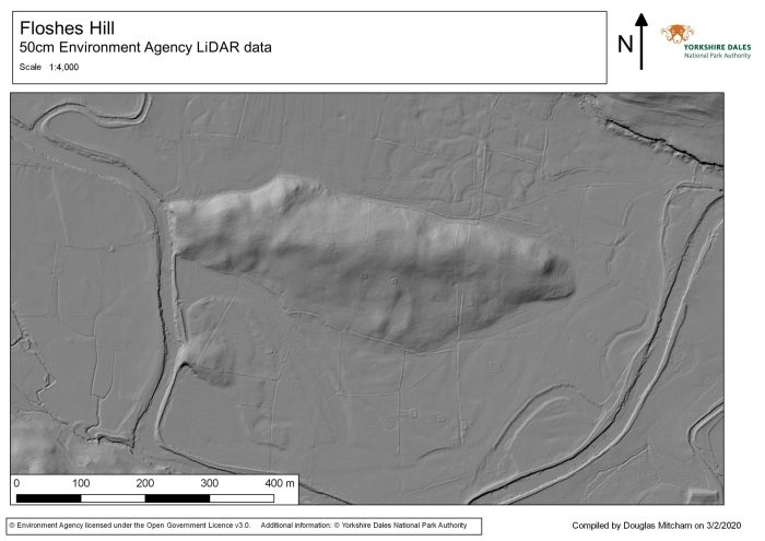 Map showing a LiDAR image of the archaeology at Floshes Hill. Many stack stands, field boundaries, cultivation traces and trackways can be seen.