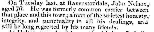 John Nelson death notice The Westmorland Gazette 15 July 1826