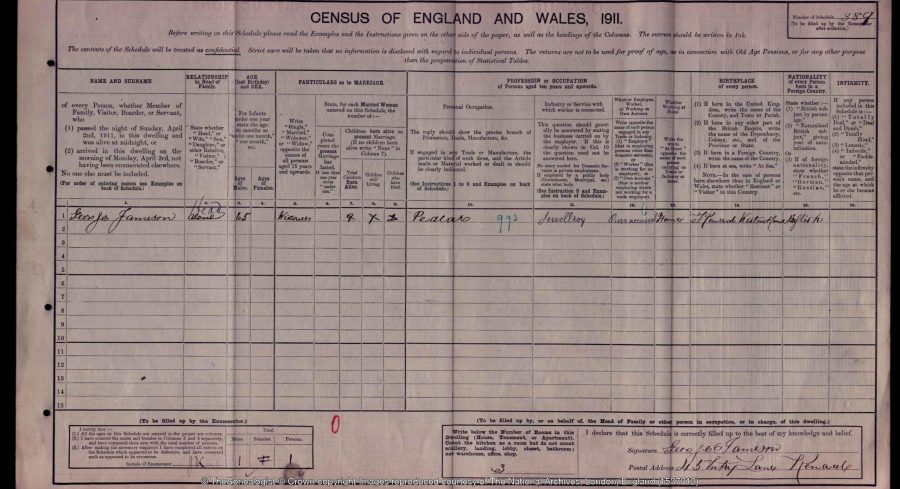 1911 census for Kendal.  © Crown Copyright Images reproduced by courtesy of The National Archives, London, England. www.NationalArchives.gov.uk & www.TheGenealogist.co.uk