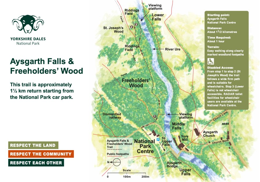 Map for walks for Aysgarth Falls and Freeholders' Wood.