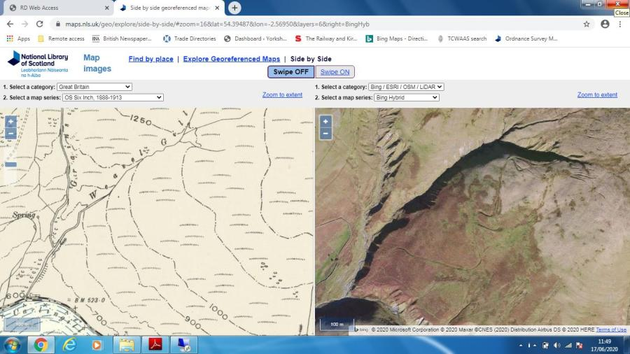 Screen shot from National Library of Scotland website showing hollow ways on Uldale Head