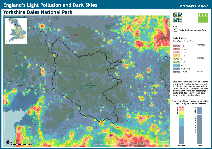 This Yorkshire Dales National Park 'Night Blight Map' shows the level of night light shining up into the night sky.