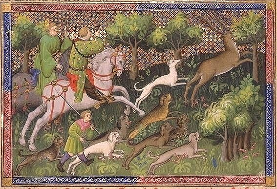 """Image is an illumination from """"Livre de Chasse"""", a medieval text about deer hunting. It shows two nobles on horseback chasing a deer and accompanied by servants and dogs"""