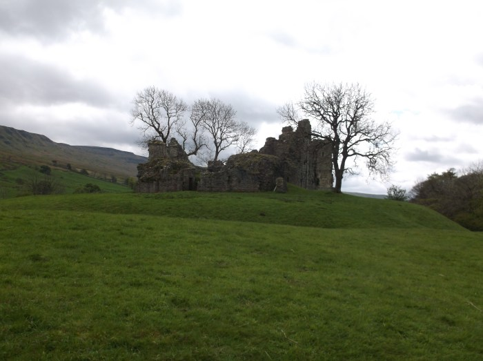 An image showing a distant view of the castle ruins on top of a mound, with the moat ditch visible in the foreground.