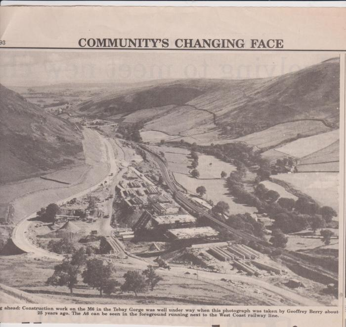 Newspaper clipping showing a view of the construction of the motorway, unknown date. Courtesy of Hilary Wilson